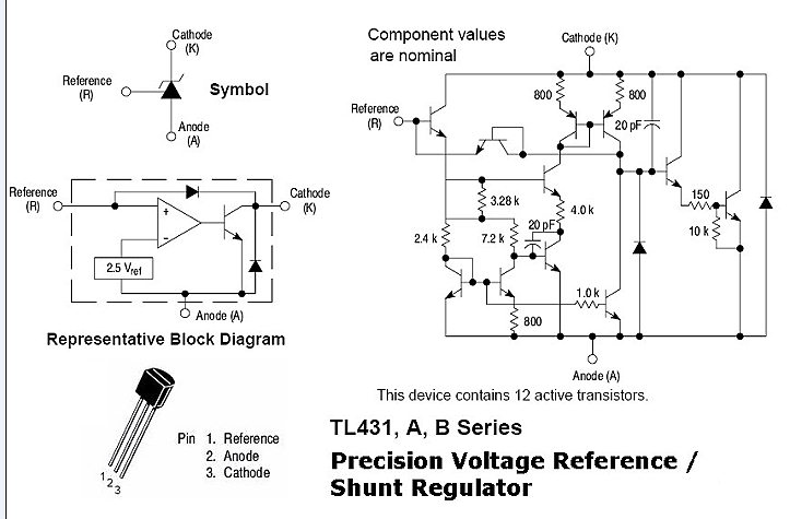 The TL431/TL431A are three-terminal adjustable regulator series with a.